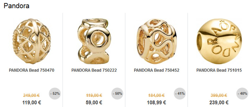 Sale - Pandora Elemente in Gold